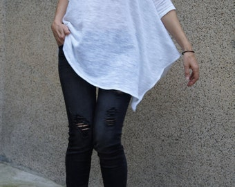 Loose Long White  Blouse/Knit Top/Extravagant Tunic/Extra Long Sleeves/Summer Sweater/Asymmetrical Blouse/F1498