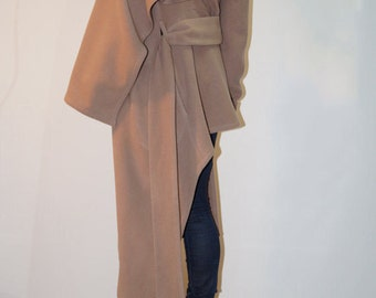 Long Wool Coat/Winter Cape Coat /Cashmere Wool Blend/Long Sleeve trench Coat/Asymmetrical Coat/Extravagant Coat/Beige Coat/High Collar/F1280
