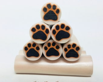 Black & Brown Paw Print Cane, Raw Polymer Clay Canes, Unbaked Clay Canes, Millefiori Clay Canes, Animal Paw, Paw Print Cane, Animal Paw