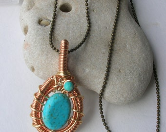 Turquoise Howlite Wire Wrapped Pendant / Crystal Reiki Attuned and Energetically Pure