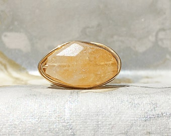 Gold Plated Wire Wrapped Ring With Citrine, Gemstone Ring, Semi Precious Stone, Gold Ring
