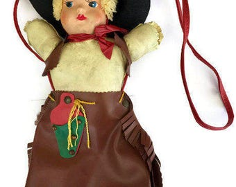 Vintage Doll Purse Cowgirl Handbag Bag Leather Doll Head