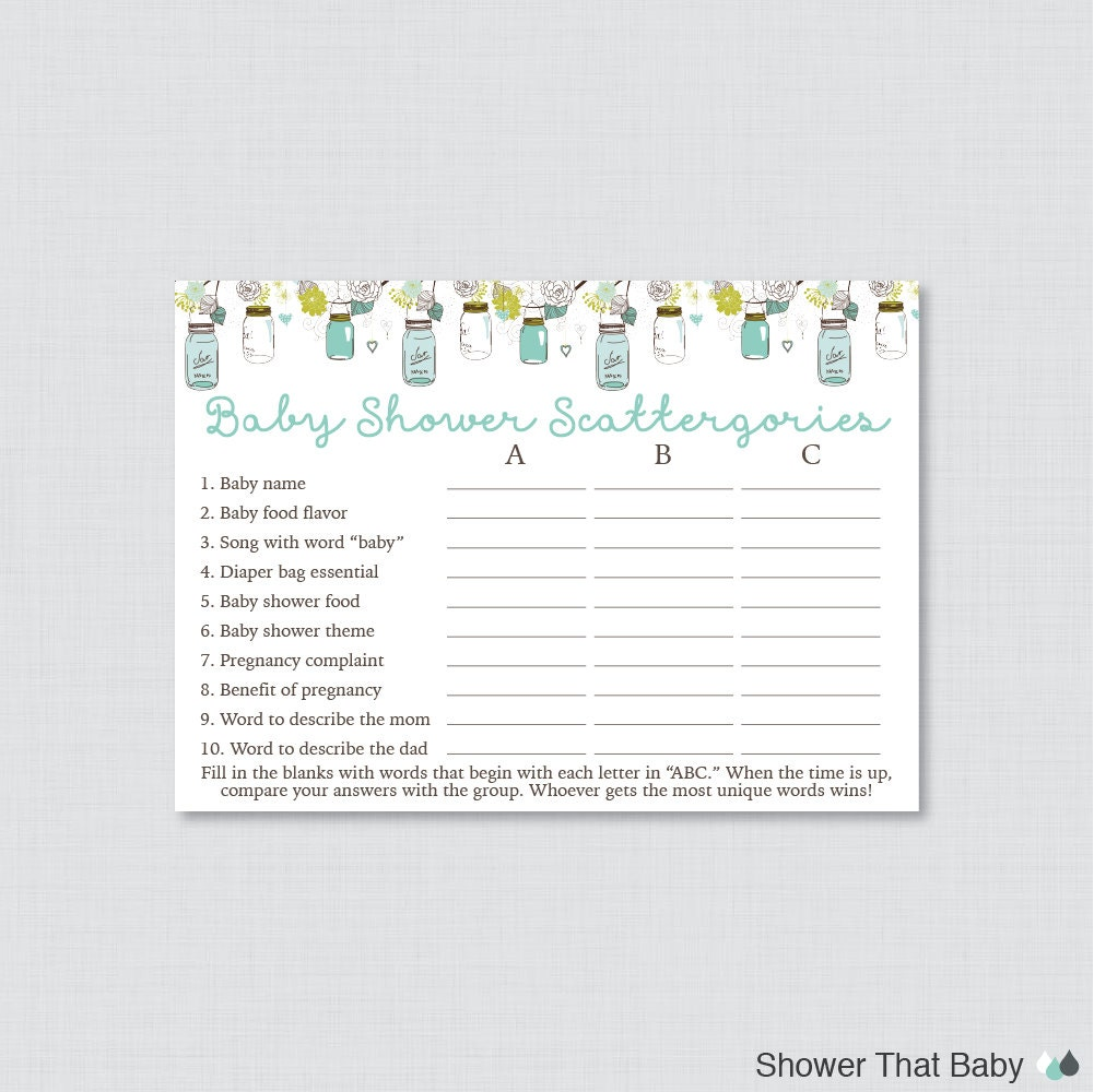 Aqua Mason Jar Baby Shower Scattergories Game Printable