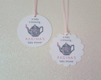 A Baby is Brewing Favor Tags *Teapot Favor Tags *Shabby Chic Baby Shower Favor Tags *Pink and Gray Baby Shower *PERSONALIZED *w/Pink Ribbon