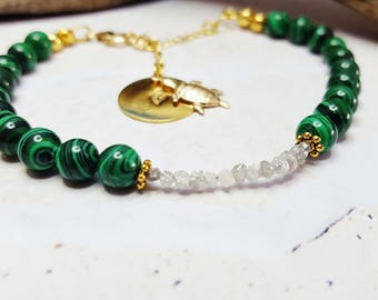 Genuine Raw Diamonds & Malachite Gemstone Bracelet ~ Gift For Mom From Son ~ 60th Anniversary or Birthday Gift, Personalized Chakra Bracelet