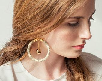 Large Hoop Earrings, Hoop Earrings, Statement Earrings, Modern Earrings, Dangle Earrings, Bohemian Earrings, Boho Earrings, Spring Jewelry