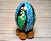 Pysanky Ornament, Lily of the Valley Pysanky・Ukrainian Egg for Home Decor [Blue]