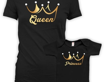 Mommy and Daughter Matching Shirts Mother Daughter Shirts Mom And Daughter Outfits Baby Shower Gift Queen And Princess Bodysuit DN-608-610