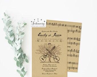 Rustic Wedding Invitation Printable Backyard BBQ Country Tree Music Casual Wedding Invitation Music Guitar and Violin // No.1114WEDDING