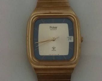 Pulsar 2001 Quartz Solar Powered Men's Watch with Date Model V102-5000 ~ Fathers Day Retro Timepiece ~ Birthday Anniversary Valentine's