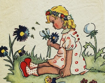 Vintage German postcard - The girl on the lawn - Wivo 1883 Publ. - 1960s