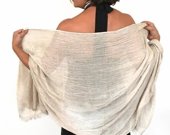 Beige Shawl, Ecologic Cotton Scarf, Azo Free, Handy, Solid Color, Light Brown Pashmina, Bridal Wrap, Bridesmaid Gift,Ivory Sarong,Healthy