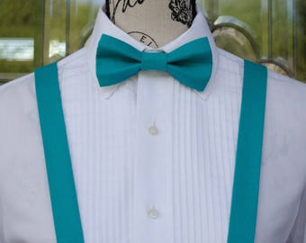 Turquoise Bow Tie & Suspender 107B  (Infant - Adult)  Weddings - Grooms - Groomsmen - Special Occasions - Business Attire - Suspenders
