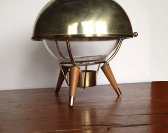 Mid Century Pyrex, Atomic Chafing Dish, Mid-Century Modern Pyrex Chafing Dish, Pyrex Mid Century Atomic Domed Casserole Dish