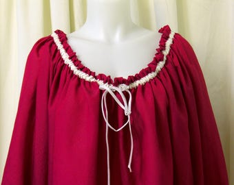 Hot Pink Silkie Pirate, Peasant Blouse w/White Satin Ribbon and Lace Accents, Long Sleeves, Size S/M