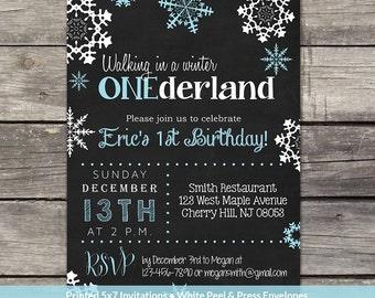 Winter Onederland Invitation for a Boy - PRINTED 1st Birthday Invitations - Winter Birthday Invitations for Boys - Blue - Birthday-151
