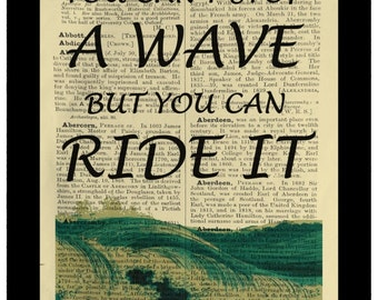 Surfer Quote Wave Ride - Dictionary Print Book Page Art