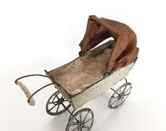 antique miniature doll carriage, doll size baby carriage, dollhouse baby carriage