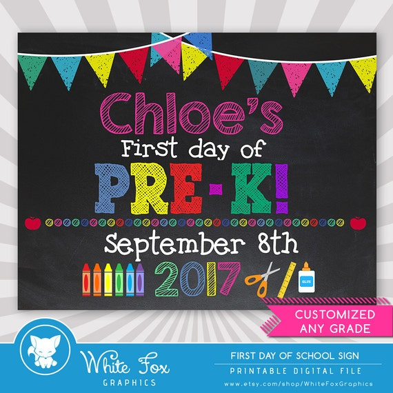 It's just a photo of Dramatic First Day of Pre K Printable Sign