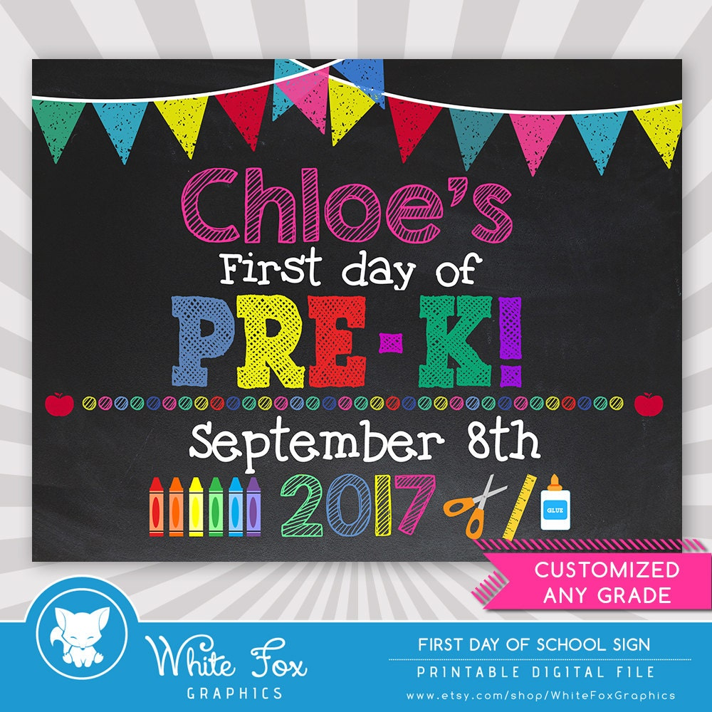 first day of pre k sign 1st day of printable first