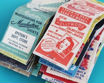 Vintage 1940's Matchbook Covers Strike-On-Front, Vintage Ephemera, Retro Advertising - SET OF 30