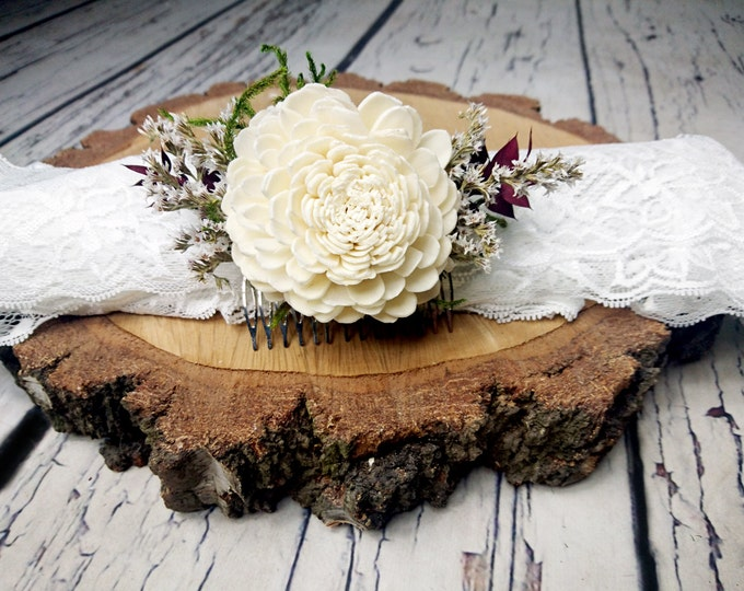 Ivory green burgundy rustic woodland HAIR COMB Sola Flower preserved cypress burlap hair piece, bridal accessory, custom, dried flowers
