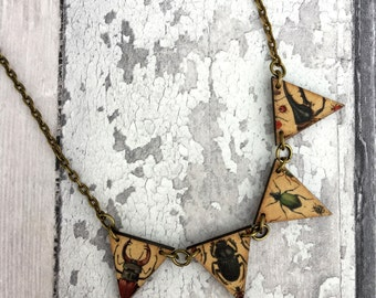 Beetle Necklace, Insect, Entomology, Wooden Bunting Necklace