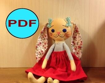 bunny pattern soft doll pattern tutorial DIY rabbit sewing pattern bunny sewing pattern soft doll pattern cloth doll pattern doll making