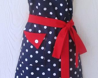 Retro Style Polka Dot Apron, Polka Dot Full Apron, Navy Blue with White Polka Dots, 50's Style, KitschNStyle