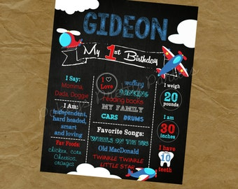 Airplane Helicopter Birthday Chalkboard Poster - Any Size, Words and Age