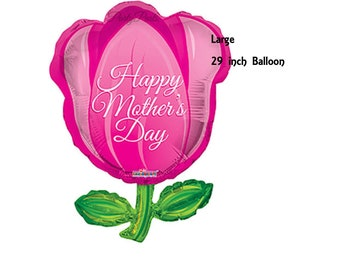 Happy Mothers Day balloon, flower balloon, gift ideas, for her, tulip, pretty decorations, spring holidays, pink, fuschia, floral, party