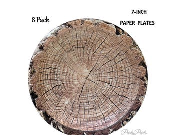 woodland paper plates, tree plates, dessert size, lumberjack birthday decorations, hunting baby shower, outdoors party, camping, hunters