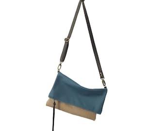 Foldover Leather Crossbody Bag // Blue Beige