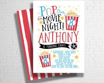Movie Night Birthday Invitation | Movie Birthday Invitation | Movie Theatre Birthday Party Invitation |  DIGITAL FILE ONLY