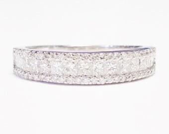 0.75CT Diamond Princess & Round Cut Wedding Band Anniversary Ring Art Deco Bands 1/2 Eternity Rings Platinum 18K 14K White Yellow Rose Gold