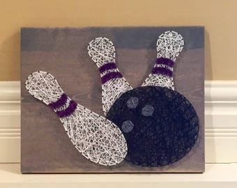 MADE TO ORDER Bowling Pins String Art Sign