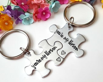 Youre My Person Puzzle Piece Key Chain Set Hand Stamped Personalized His and Hers Set Gift for Her Gift for Him