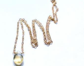 Citrine Choker Necklace, Gold Choker, Crystal Necklace, Stone Silver Choker, November Birthstone Necklace, Yellow Citrine Gemstone Necklace