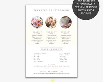 Pricing Template, Photography Pricing Template, Price Template, Marketing Flyer Template, Price list template, Price Guide, Pricing guide