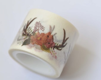 Deer Antler Floral Wreath Washi Tape 30mm wide x 5m long (approx. 1.2 inch wide x 5.5 yards long) No. 12242
