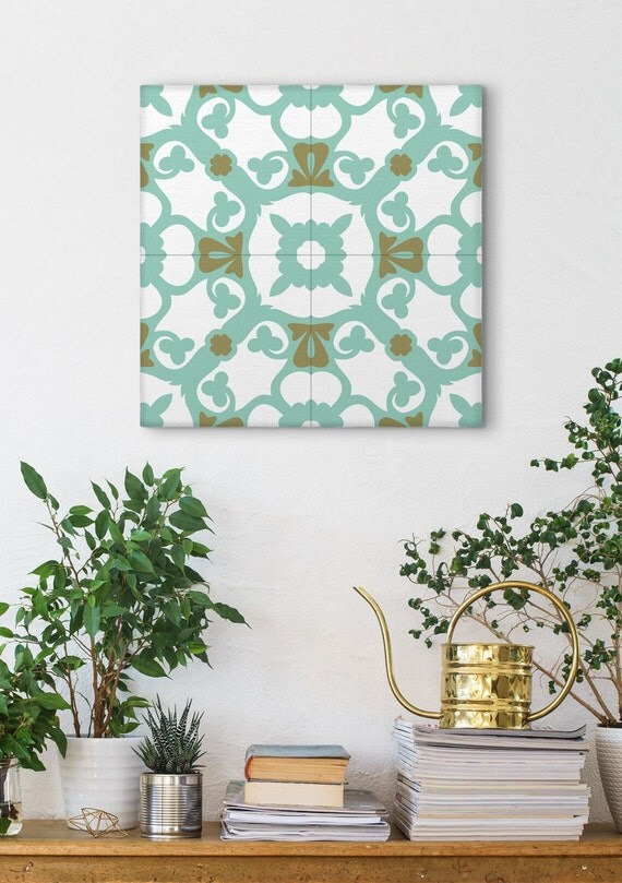 Turquoise Wall Art, Stretched Canvas, Mosaic Art, Tile Designs, Barcelona Tiles, Wall Decorating