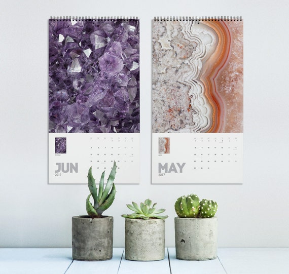 Mineral Photography Calendar 2017, Mineral Rocks, 2017 Calendar, Macro Photography, Wall Decor, Photo Calendar, Home Gifts, Printed Calendar