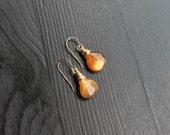 Sandstone Gold Earrings, 14 Karat, gold filled earrings, brown earrings, sunstone drops, natural gem earrings, tiny gold, small drops, cute