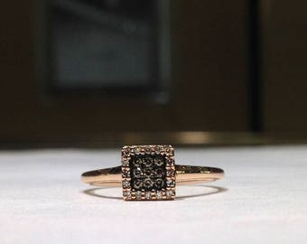 0.33 Carat Genuine Chocolate & White Diamond Ring in 14K Rose Gold (HD video available)