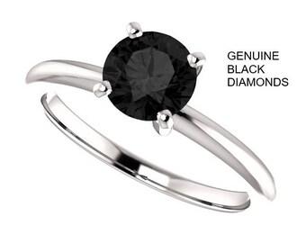 SALE!! 0.50 Carat  Ideal Cut Round Brilliant Genuine Black Diamond Solitaire Ring