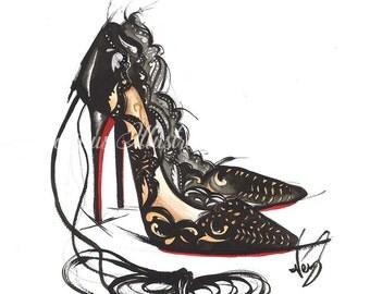 Heel art, Designer heels art, Fashion illustration, Shoes illustration, Fashion wall art, Heels illustration, Fashion heels art, Fashion art