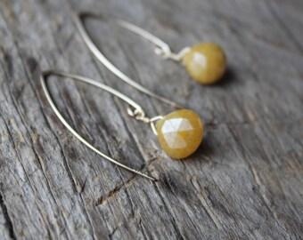 Yellow Silverite Stone Teardrop Gold Filled Marquise Earrings