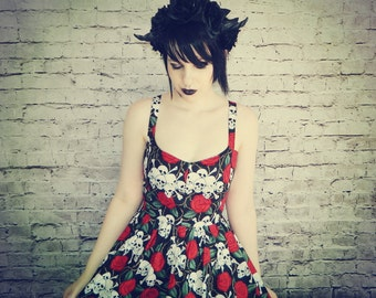 Skulls and roses dress.