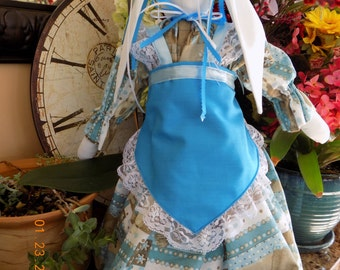 Beautiful hand made stuffed bunny rabbit doll with print dress, blue apron and matching bloomers