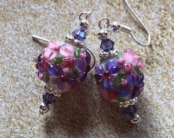 Dangle Earrings, Purple Flower Earrings, Lampwork, Glass Earrings, Lampwork Jewelry, Summer Earrings, Summer Jewelry